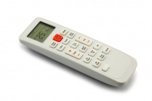 Air conditioner remote control on white background